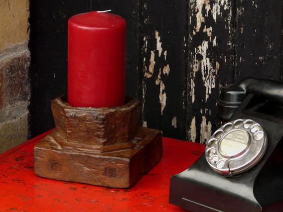 Old Wooden Candleholder 15