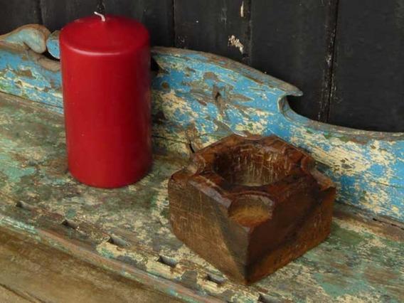 Old Wooden Candleholder 514