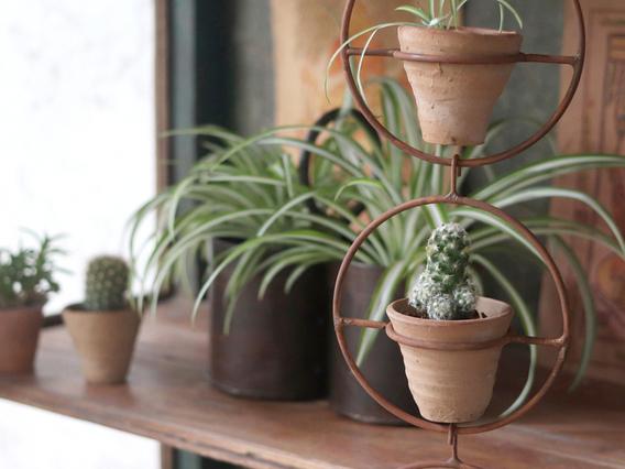 Clay Pot In Metal Hanger Set of 3