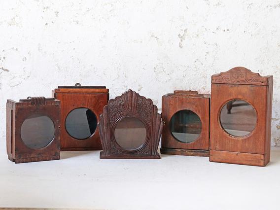 Vintage Wooden Clock Display Cabinet - Large