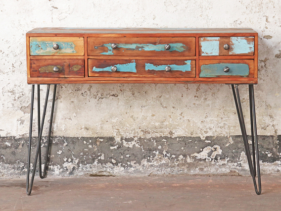 View our  Blue Console Table - 6 Drawer from the  Hallway collection