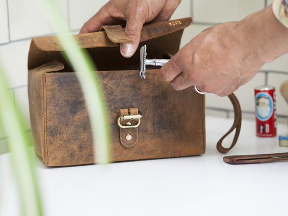 View our  Deluxe Leather Wash Bag from the  Travel Gifts collection