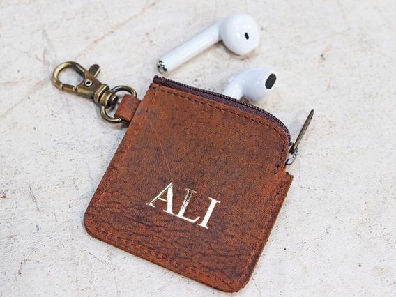 Leather Ear Bud Case Keyring Purse