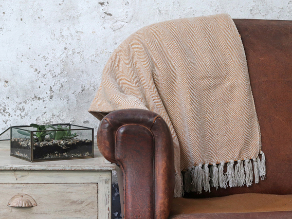 View our  Gold Herringbone Weave Cotton Throw from the   collection