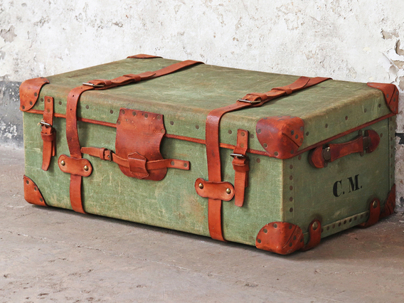 View our  Green Antique Travel Trunk from the  Sold collection