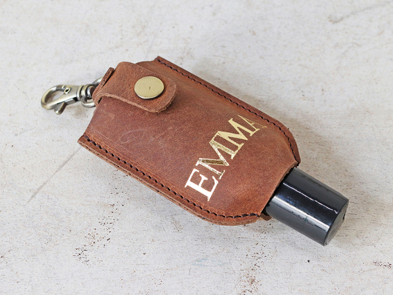 Hand Sanitiser Leather Bottle Holder - Large