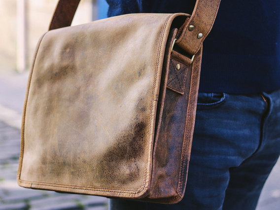 View our  iPad Leather Messenger Bag from the   collection