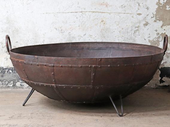 Antique Metal Kadai Fire Bowl - 130CM