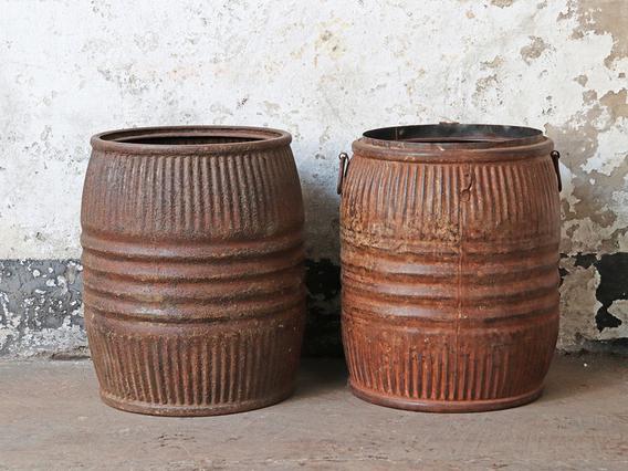 Vintage Metal Barrel – Large