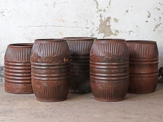 Vintage Metal Barrel - Medium