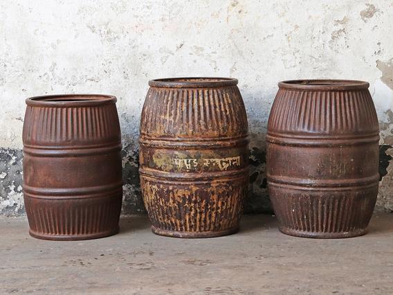 Vintage Metal Barrel - Small