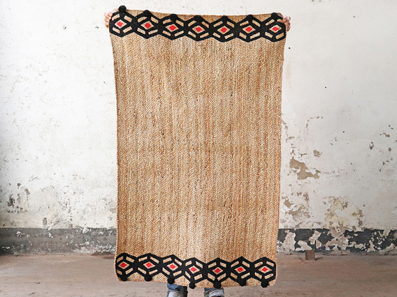 View our  Medium Jute Floor Rug - Black Hexagon from the   collection