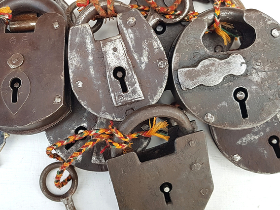 View our  Large Antique Iron Padlock from the   collection