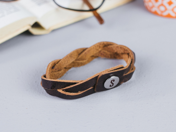 View our  Large Brown Leather Bracelet from the   collection