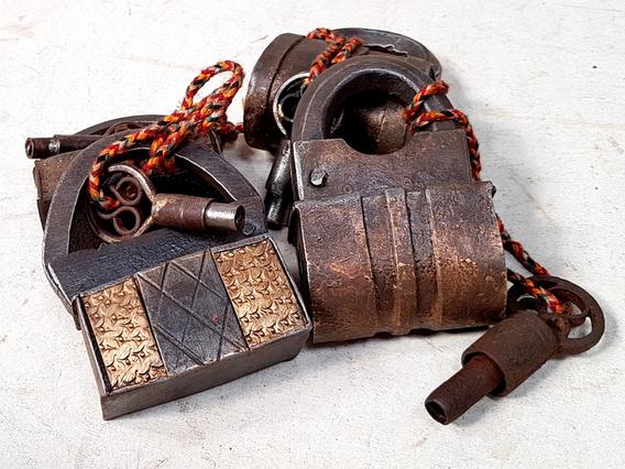 Old Iron And Brass Screw Padlock - Large