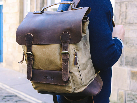 View our Men Large Leather and Canvas Backpack For Men from the Men  collection