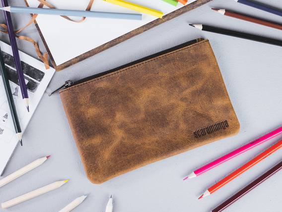 Large Leather Pencil Case