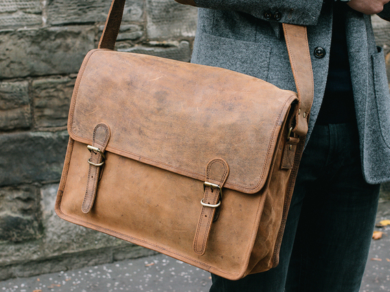 View our  Large Vintage Leather Satchel 16 Inch from the  Work Gifts collection