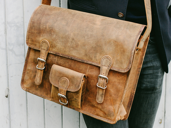 Large Vintage Leather Satchel 16 Inch With Pocket