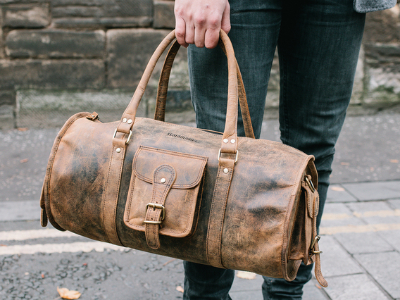 View our Men Leather Barrel Gym Bag from the Men Leather Weekend Bags collection
