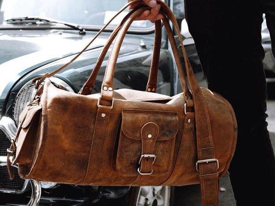 Leather Barrel Gym Bag
