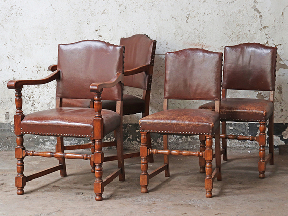 View our  Antique Leather Dining Chairs - set of 4 from the   collection
