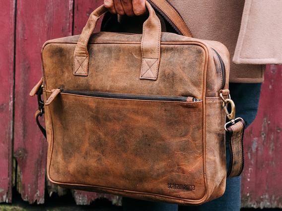 Leather Laptop Bag - Men Large