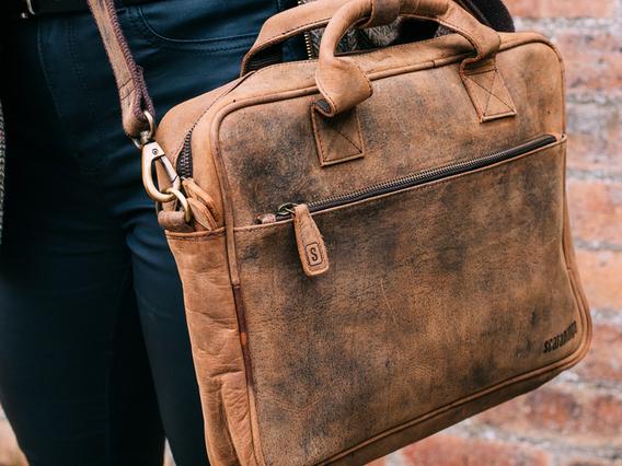 Leather Laptop Bag - Women Large