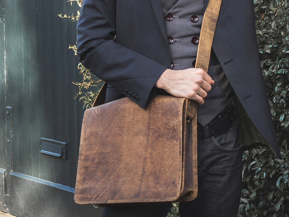 Leather Messenger Bag Small 13 Inch