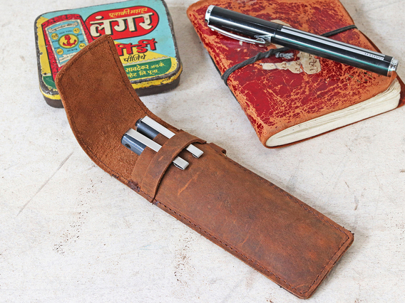 Leather Pen Case With Pocket Clip Brown