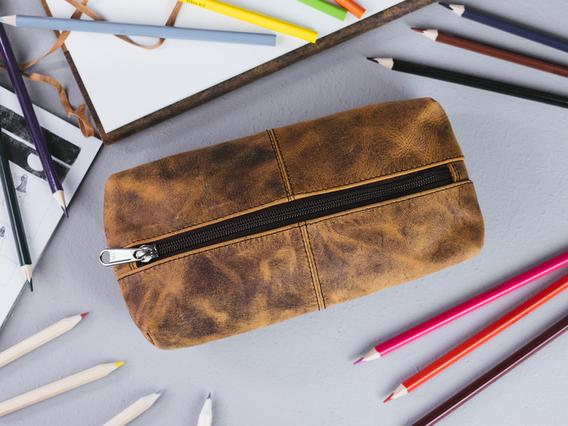 Leather School Pencil Case