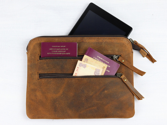 View our  Leather Tablet And Travel Pouch from the  Work Gifts collection