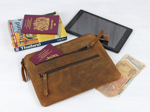 Leather Tablet And Travel Pouch