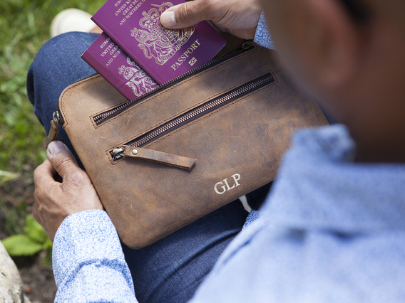 View our  Leather Tablet And Travel Pouch from the  Travel Gifts collection