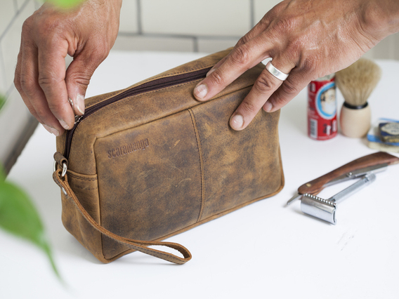 View our  Leather Wash Bag from the  Travel Gifts collection