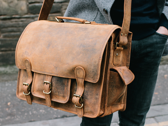 View our  Medium Overlander Leather Satchel 16 Inch from the   collection