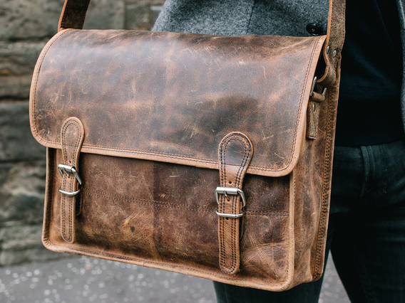 View our Men Medium Vintage Leather Satchel 15 Inch from the Men  collection
