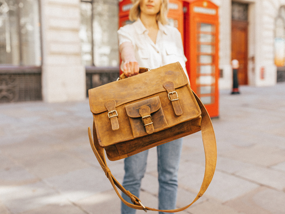 View our Women Medium Vintage Leather Satchel 15 Inch With Pocket & Handle from the Women Leather Satchels & Bags collection