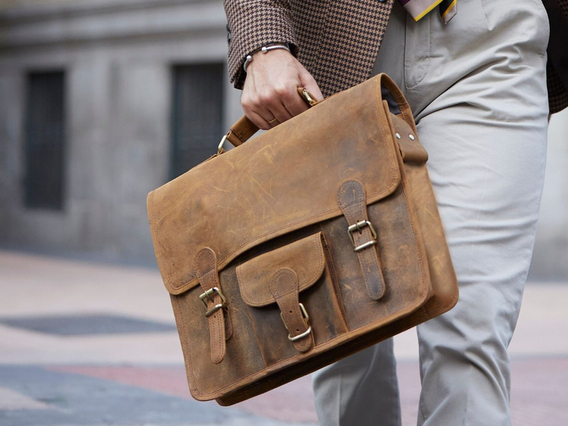 View our  Medium Vintage Leather Satchel 15 Inch With Pocket & Handle from the   collection
