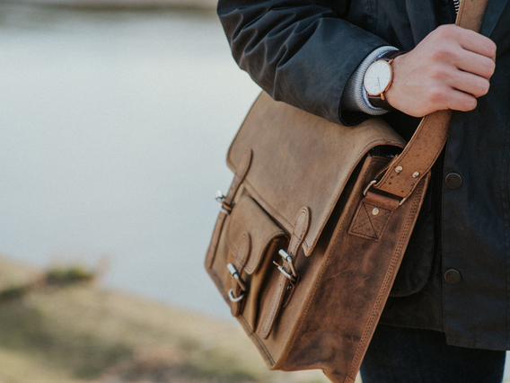 View our Men Medium Vintage Leather Satchel Front Pocket 15 Inch from the Men Back to School/Uni collection