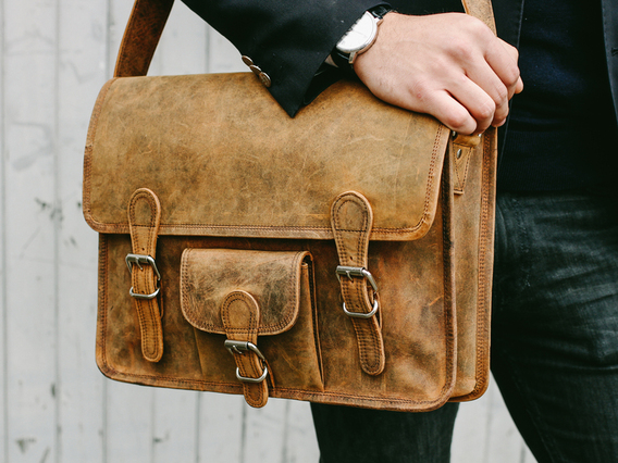 View our Men Medium Vintage Leather Satchel Front Pocket 15 Inch from the Men  collection