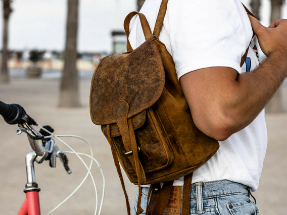 Mens Leather Backpack Mini