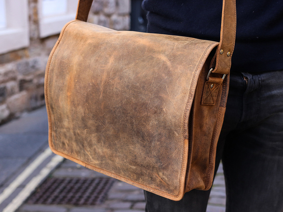 View our Men Mens Leather Messenger Bag Medium 15 Inch from the Men Laptop Bags collection