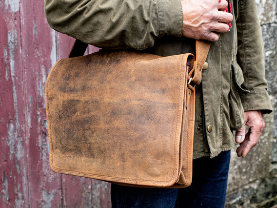 View our  Mens Leather Messenger Bag Medium 15 Inch from the   collection