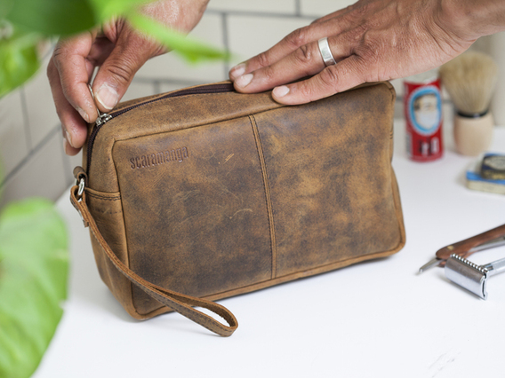 View our  Men's Leather Wash Bag from the   collection