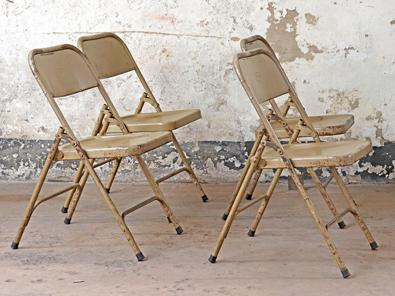 Metal Folding Vintage Chair - Cappuccino