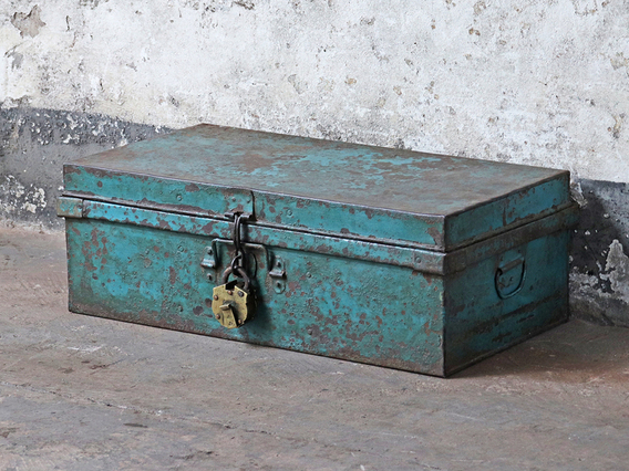 View our  Blue Metal Travel Trunk from the  Old Travel Trunks collection