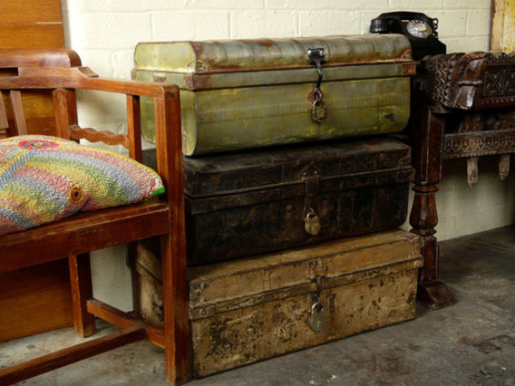 View our  Vintage Metal Travel Trunk 153 from the   collection