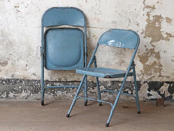 Metal Vintage Folding Chairs Blue