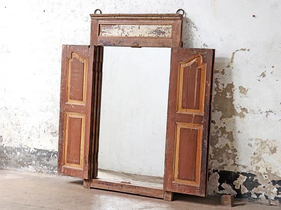 Antique Shuttered Window Frame Mirror